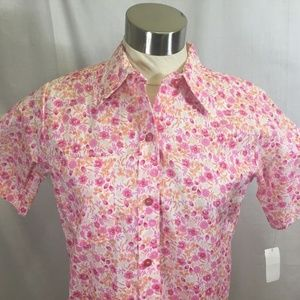 Vtg Sears Shirt Pink Orange Floral Button Front